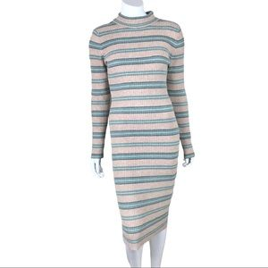 Pink Rose Ribbed Knit Stretch Long Sleeve Dress